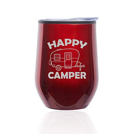 Stemless Wine Tumbler Coffee Travel Mug Glass with Lid Happy Camper
