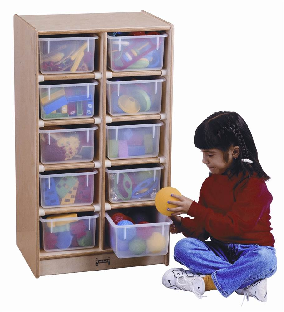 Kid's Mobile Storage w 10 Clear Trays and Hardboard Frame