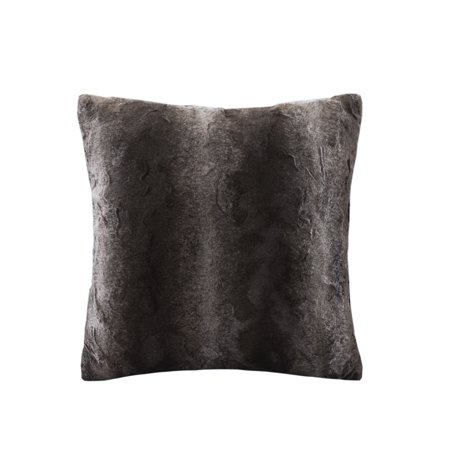 Home Essence Marselle Faux Fur Soft and Trendy Square Pillow, 20x20u0022, Brown