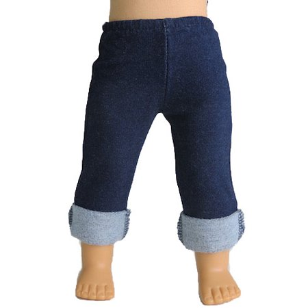 Dark Blue Jeans With Rolled Up Pant Legs| Fits 18