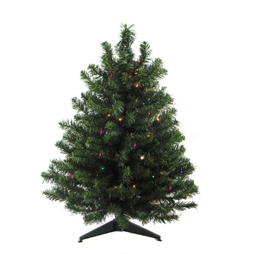 3' Pre-Lit Battery Operated Pine Artificial Christmas Tree - Multi-Color LED Lights
