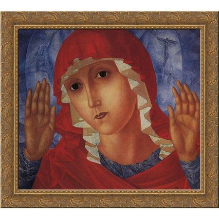 Virgin of Tenderness evil hearts 20x20 Gold Ornate Wood Framed Canvas Art by Petrov Vodkin, - Tenderness Heart