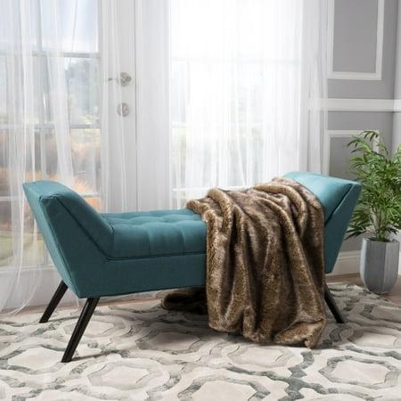 Noble House Lauren Dark Teal Fabric Bench