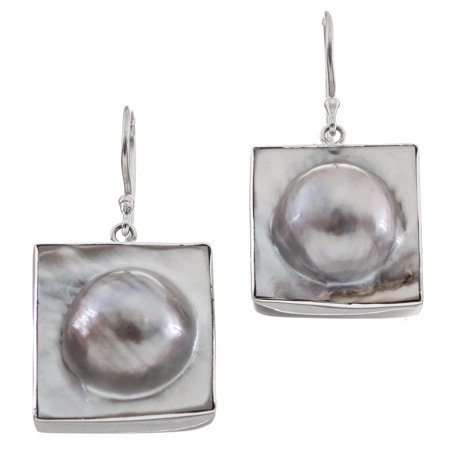 Square White Oyster Blister Mabe Cultured Pearl in Shell 925 Sterling Silver Earrings, 13/16