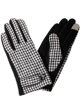 David & Young Womens Black Houndstooth Stretch Fit Wool Texting & Tech Gloves