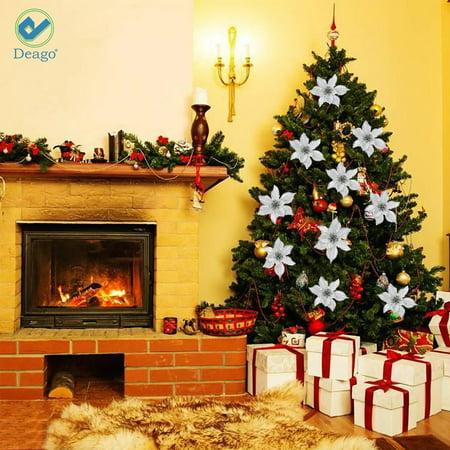 Christmas Poinsettia Glitter Flower Tree Hanging Xmas Tree Party Decoration Y3J0