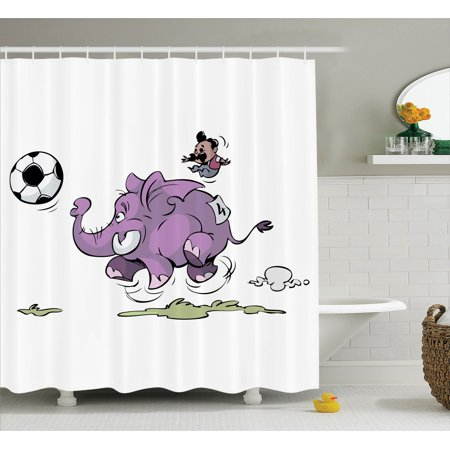 Elephants Decor Shower Curtain Set, Elephant Is Playing Soccer With A Kid Mario Moustache Sports Decor Football Print, Bathroom Accessories, 69W X 70L Inches, By - Moustache Mario