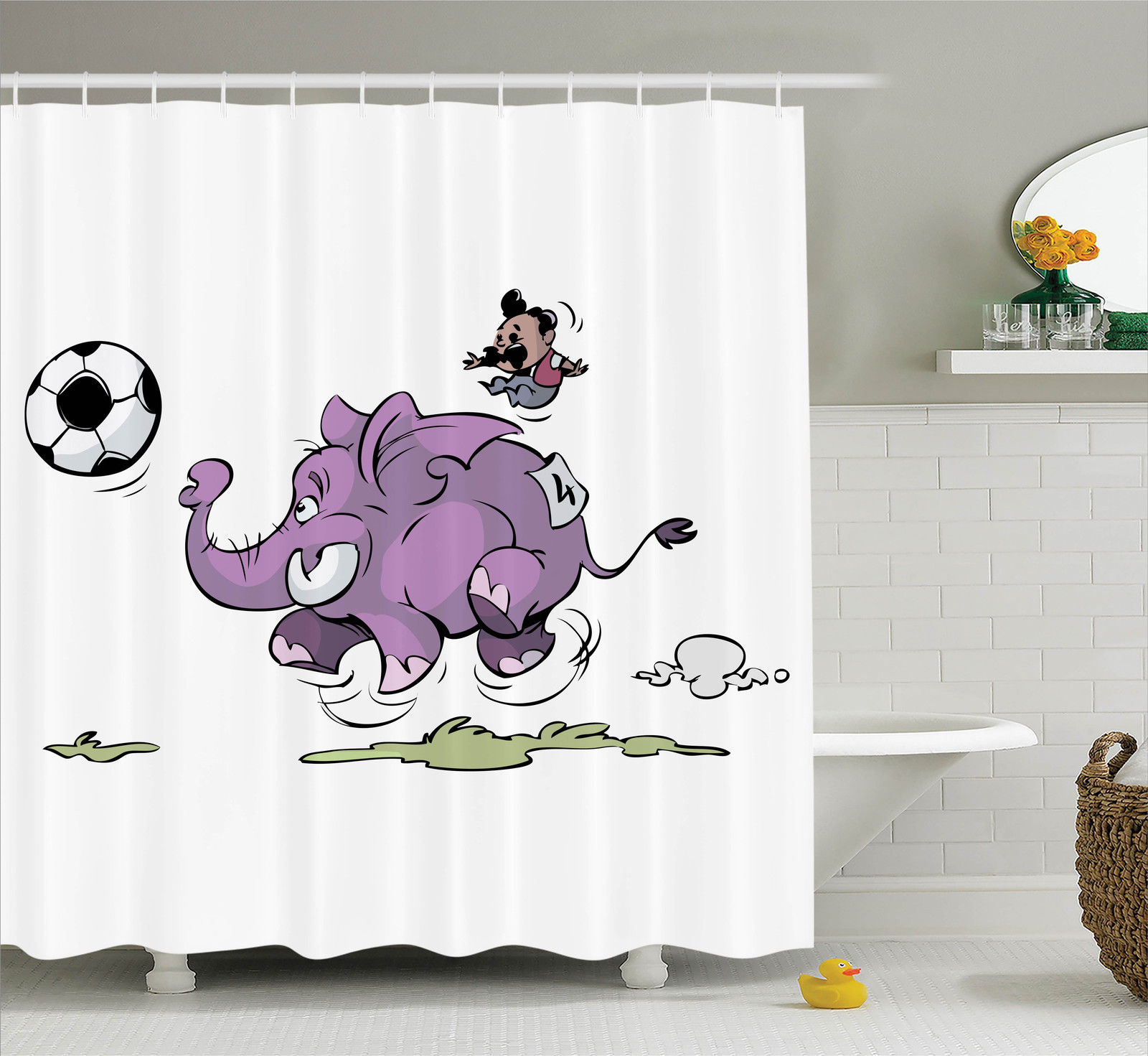 Elephants Decor Shower Curtain Set, Elephant Is Playing Soccer With A Kid  Mario Moustache Sports
