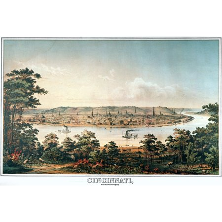 Cincinnati Ohio C1856 Nview Of Cincinnati As Seen From The South Bank Of The Ohio River Lithograph C1856 Rolled Canvas Art     24 X 36