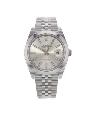 Rolex Datejust 41 126300 sij Silver Index Dial Steel Automatic Mens Watch