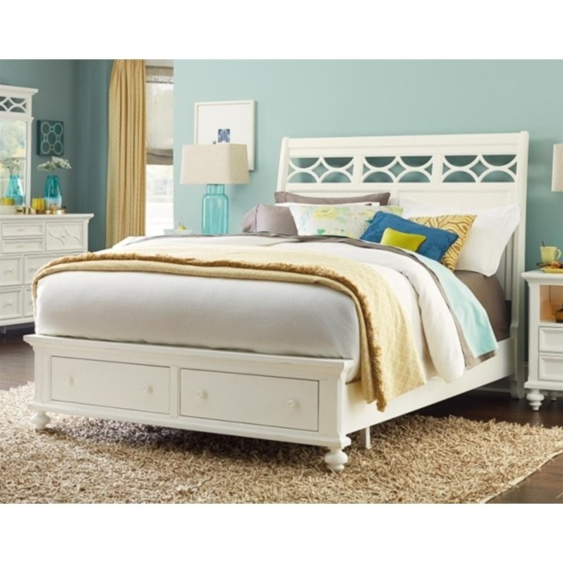 American Drew Lynn Haven King Sleigh Bed with Storage in White by American Drew