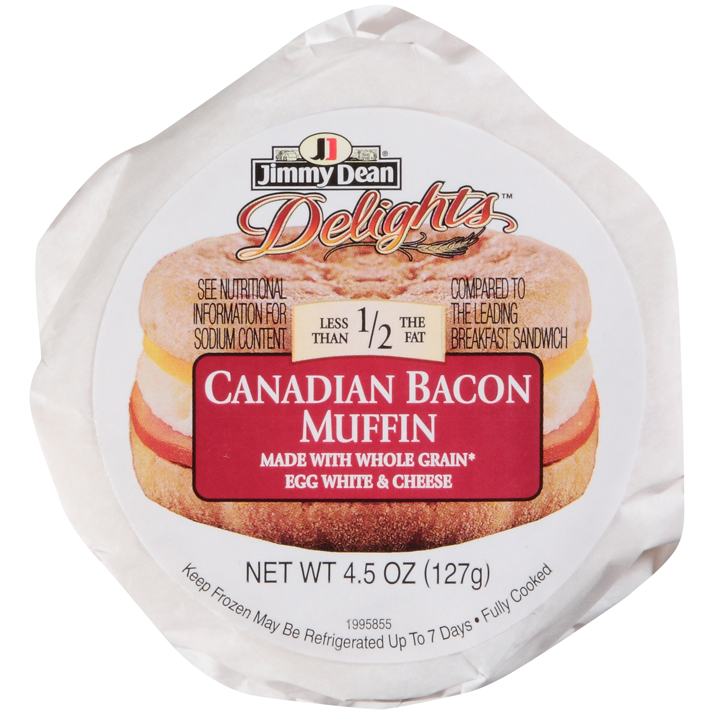 Jimmy Dean D-Lights Canadian Bacon w/ Egg Whites and Cheese Muffin Sandwich, 4.5 oz., 12 per case