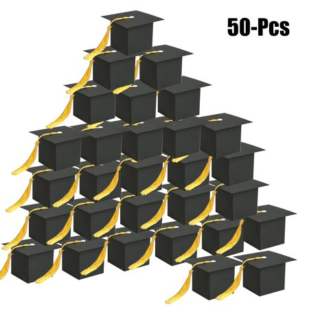 50PCS Graduation Candy Favor Box Creative Graduation Cap Party Supplies Gift Box for 2019 Graduation Party - Decorations For Graduation Party