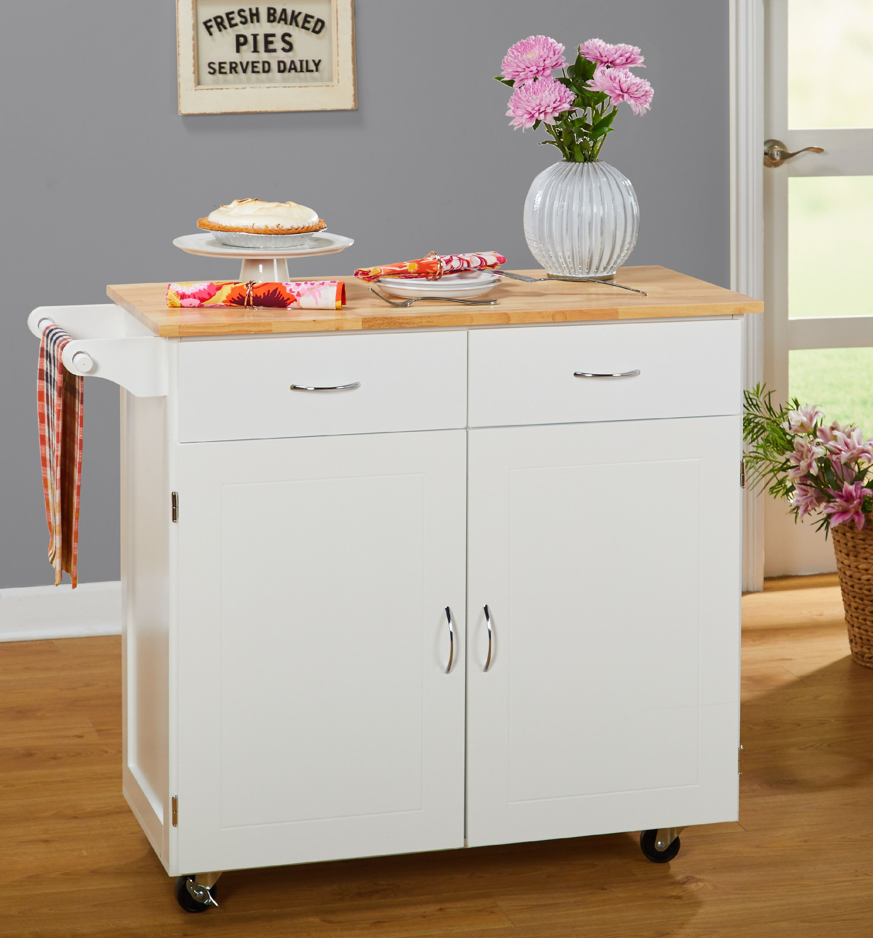 Large Kitchen Cart with Rubberwood Top, Multiple Finishes - Walmart.com
