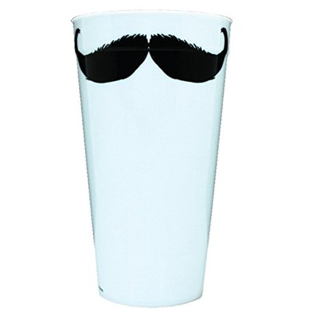 Kalan LP Black and White Mustache Plastic Party Cup, 20-Ounce, Set of 4 - Mustache Cups
