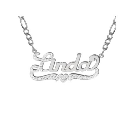 Personalized Sterling Silver, Gold Plated, 10k or 14k Nameplate Necklace with First Initial and Tail Beaded and Rhodiumed with an 18 inch Silver Plated Figaro Chain
