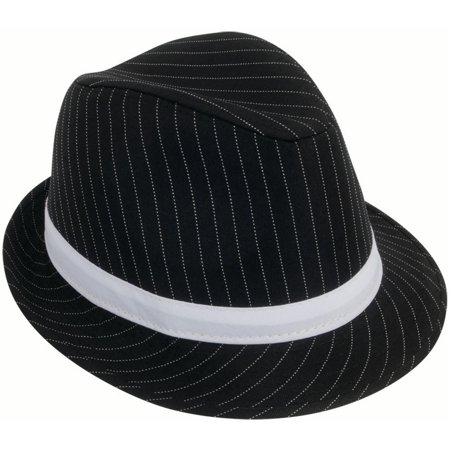 Loftus 1920s Gangster Mob Boss Costume Pinstripe Fedora, Black White, One Size for $<!---->