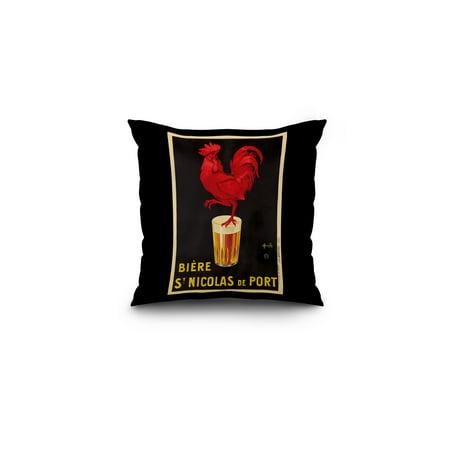 France - Biere St Nicolas de Port - (artist: Auzolle, Marcelin c. 1920) - Vintage Advertisement (16x16 Spun Polyester Pillow, Black Border)