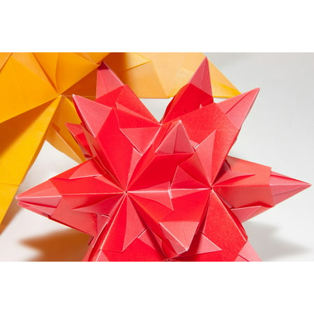 Dimensional Stick (Peel-n-Stick Poster of Fold 3 Dimensional Origami Art Of Paper Folding Poster 24x16 Adhesive Sticker Poster)