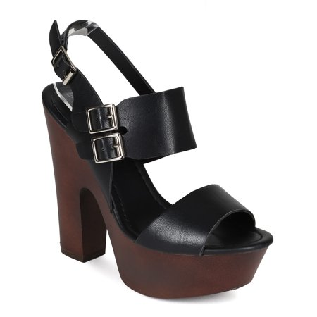 1fb838985a2 Breckelles - New Women Breckelles Rudy-11 Double Band Slingback Chunky Heel Platform  Sandal - Walmart.com