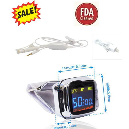 - Cold Laser therapy wrist watch that HELPS to cure diabetes, Pain Reliever, Hypertension, Cardiovascular Diseases, to lower Blood Pressure,, high blood fat, high blood sugar