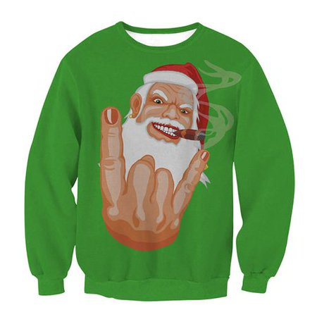 Yves Woman's Funny Cute Santa Loves You Gesture Couple Green Round Neck Long Sleeve Sweater
