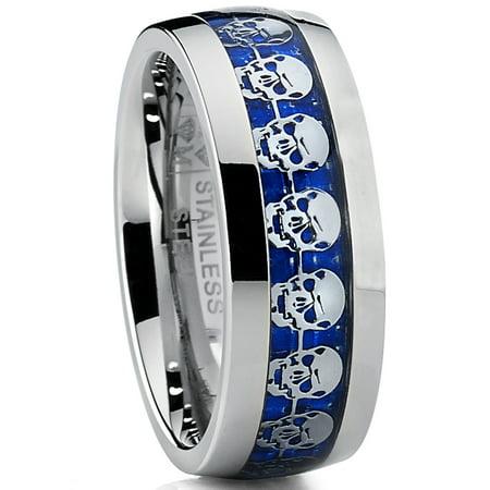 Men's Dome Stainless Steel Ring Band with Blue Carbon Fiber and Skull Design - Plastic Skull Rings