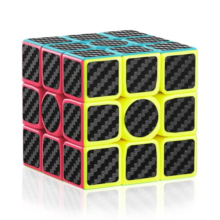 Speed Cube, 3x3x3 Carbon Fiber Sticker Smooth Magic 3D Puzzle Rubiks Cube, Enhanced Version