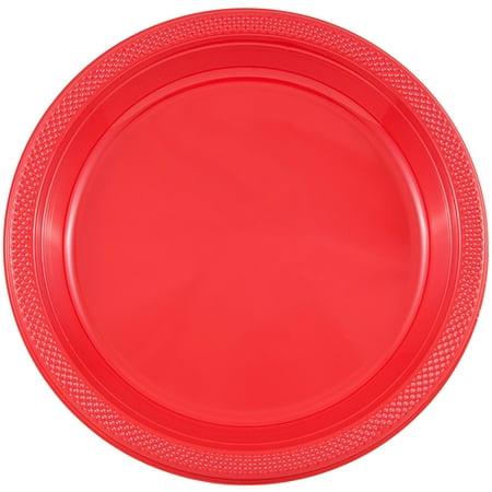 JAM Bulk Round Plastic Party Plates, Red, 200/Box, Medium, 9