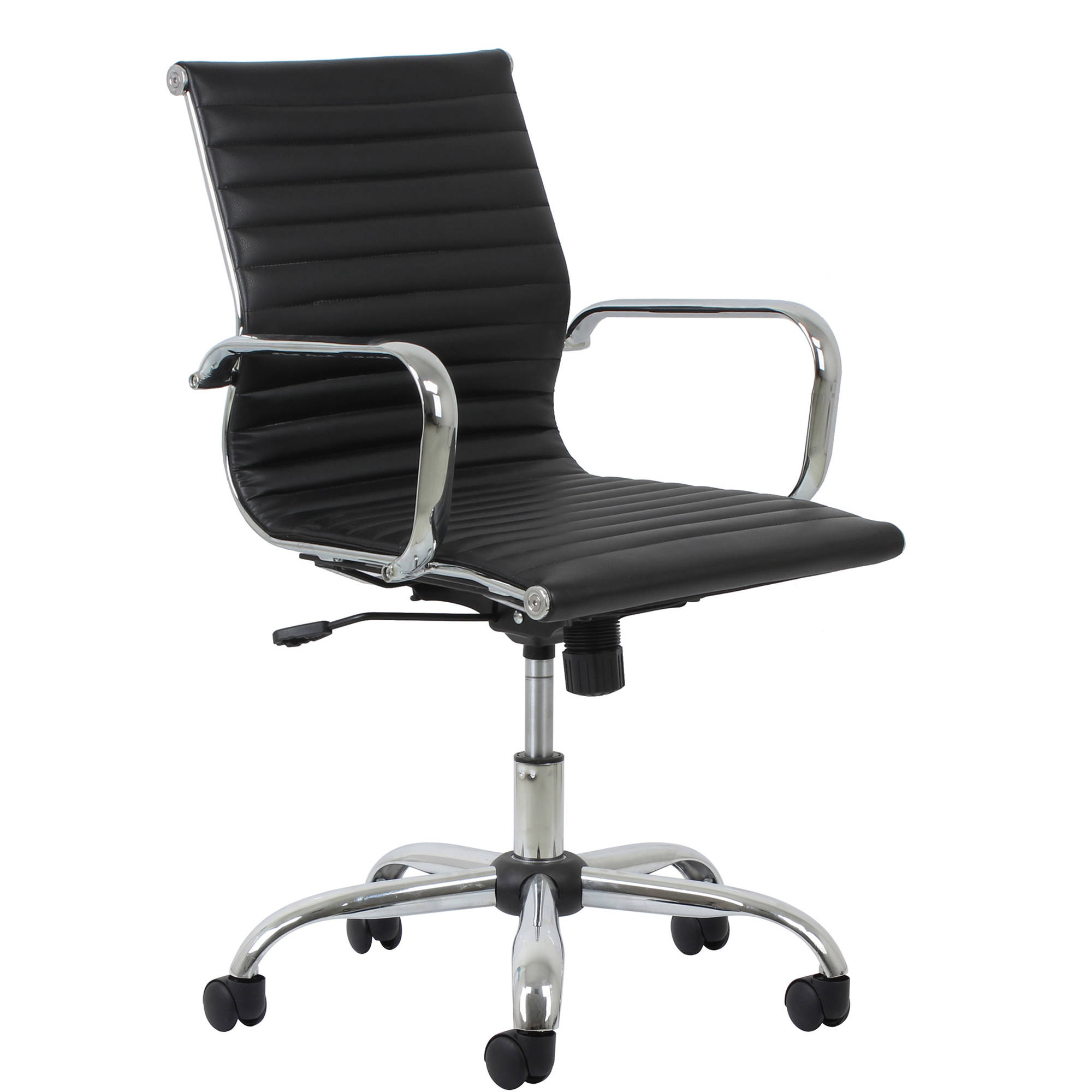 Essentials by OFM Swivel Ribbed Leather Executive Conference Chair with Arms, Black/Chrome
