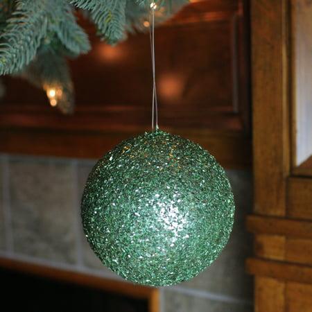 "Emerald Green Holographic Glitter Shatterproof Ball Christmas Ornament 4.75"" - image 1 de 2"