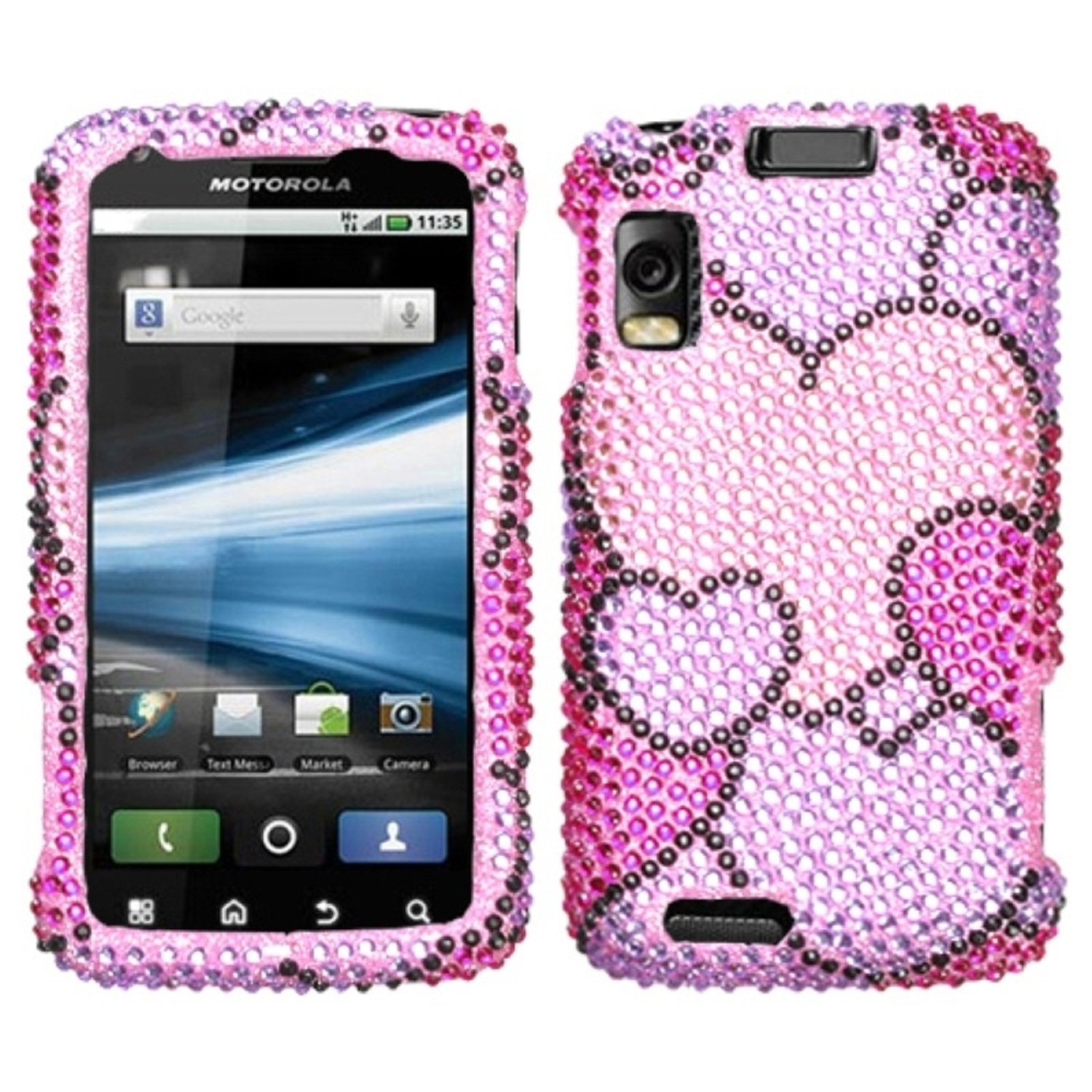 Insten Cloudy Hearts Diamante Case for MOTOROLA: MB860 (Olympus/Atrix 4G)