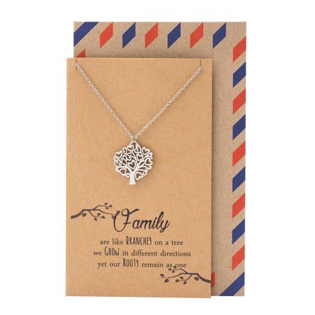 Quan Jewelry Celtic Tree of Life Necklace, Family Tree Pendant, Mom's Day Gifts, Inspirational Quote Card (Tree Of Life Jewelry)