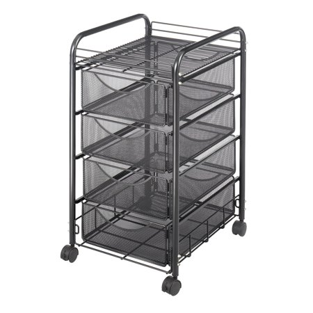 Onyx™ Mesh File Cart with 4Drawers, Black