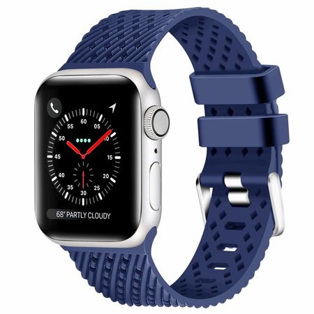 Sport Band Watch Strap with Compression Molded Perforations for Apple Watch 40mm / 38mm - Navy Blue ()
