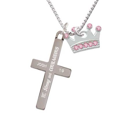 Silvertone Crown with Light Pink Crystals - Strong and Courageous - Cross Necklace