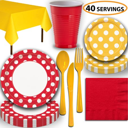 Disposable Tableware, 40 Sets - Ruby Red and Sunflower Yellow Dots - Dinner Plates, Dessert Plates, Cups, Lunch Napkins, Cutlery, and Tablecloths:  Party Supplies Set