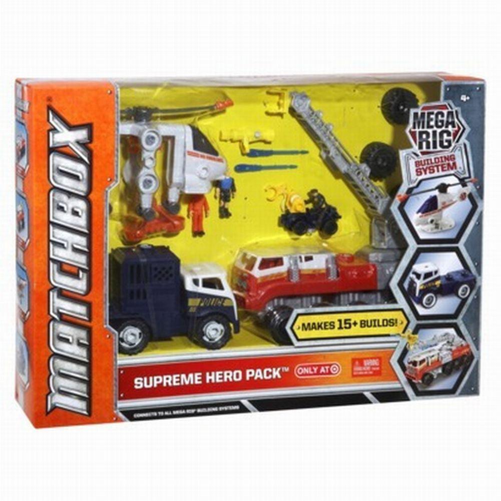 Matchbox Mega Rig Supreme Hero Pack Playset Fire Truck Helicoptor Police 15 Bld