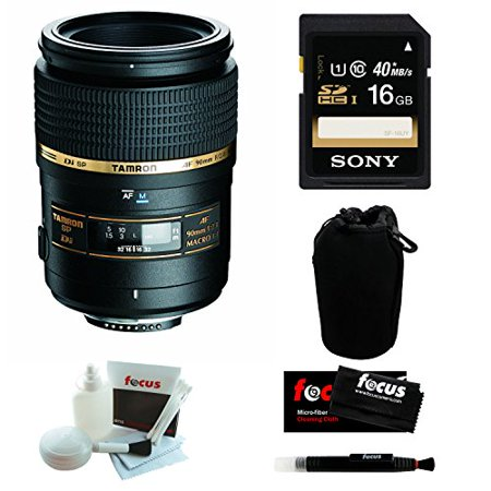 Tamron AF 90mm f/2.8 Macro Lens for Nikon Digital SLR Camera with Sony 16GB Deluxe Accessory Bundle