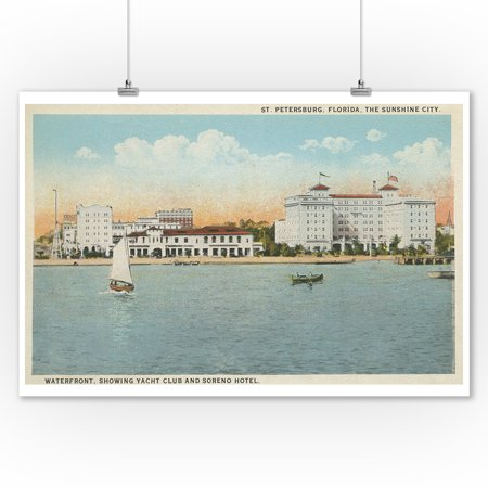 St. Petersburg, FL - Waterfront View of Soreno Hotel (9x12 Art Print, Wall Decor Travel (Hotels In Gainesville Fl On 13th St)