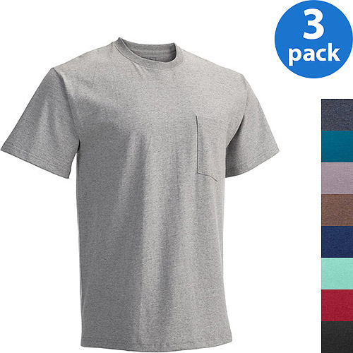Fruit of the Loom Men's Short Sleeve Pocket Tee, 3 Pack