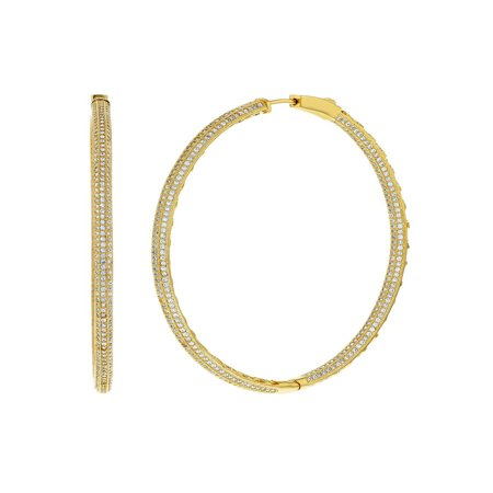 18k Gold Plated Micro Pave Clear CZ Large Endless Hoop Earrings 2.16