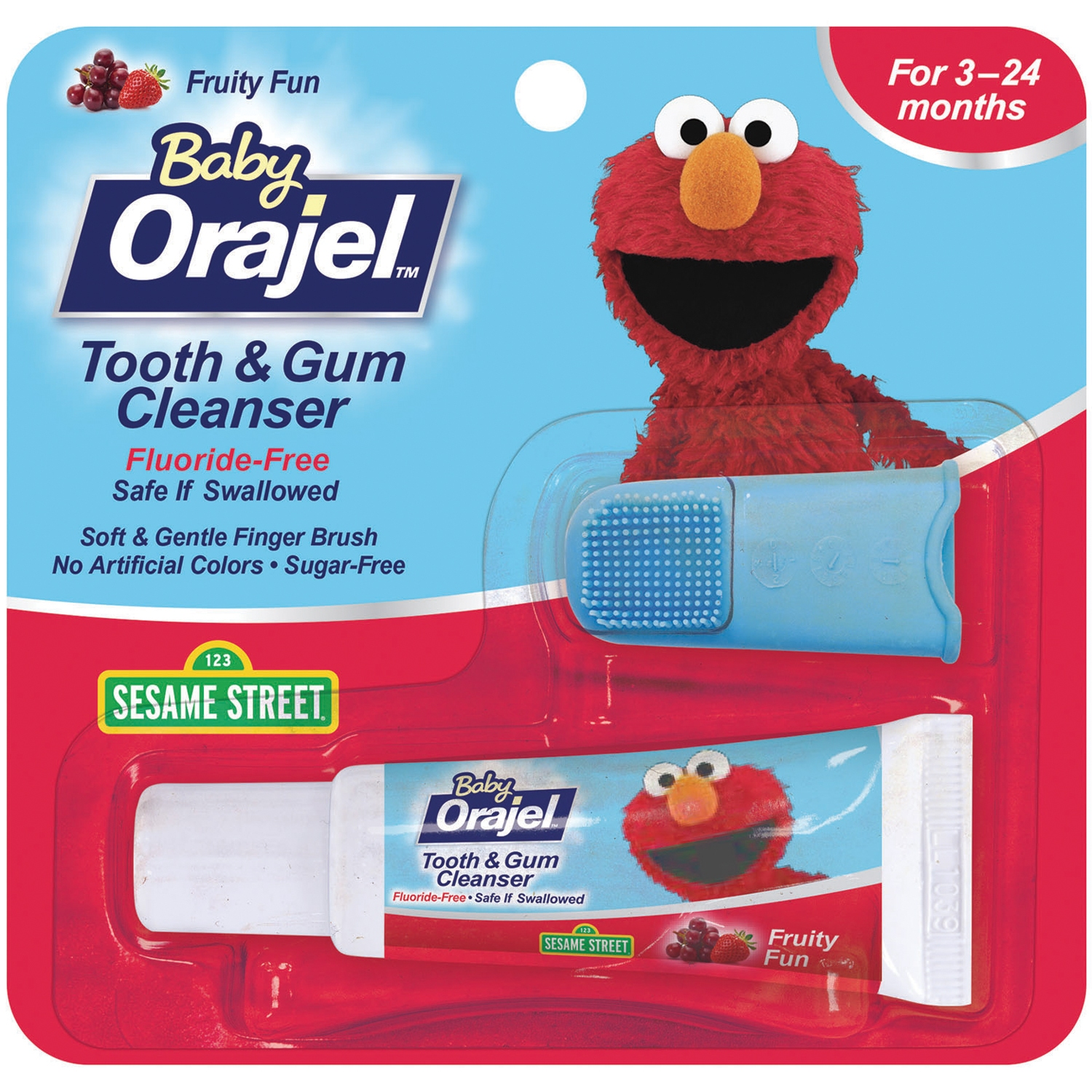 Baby Orajel Gel & Finger Toothbrush Mixed Fruit Tooth & Gum Cleanser .7 Oz Peg