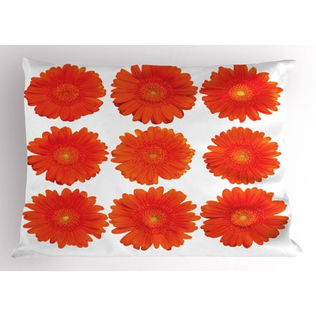 Orange Pillow Sham Collection of Orange Gerberas Botanical Bouquet Seasonal Growth Garden Spring Theme, Decorative Standard Size Printed Pillowcase, 26 X 20 Inches, Orange, by - Seasonal Themes