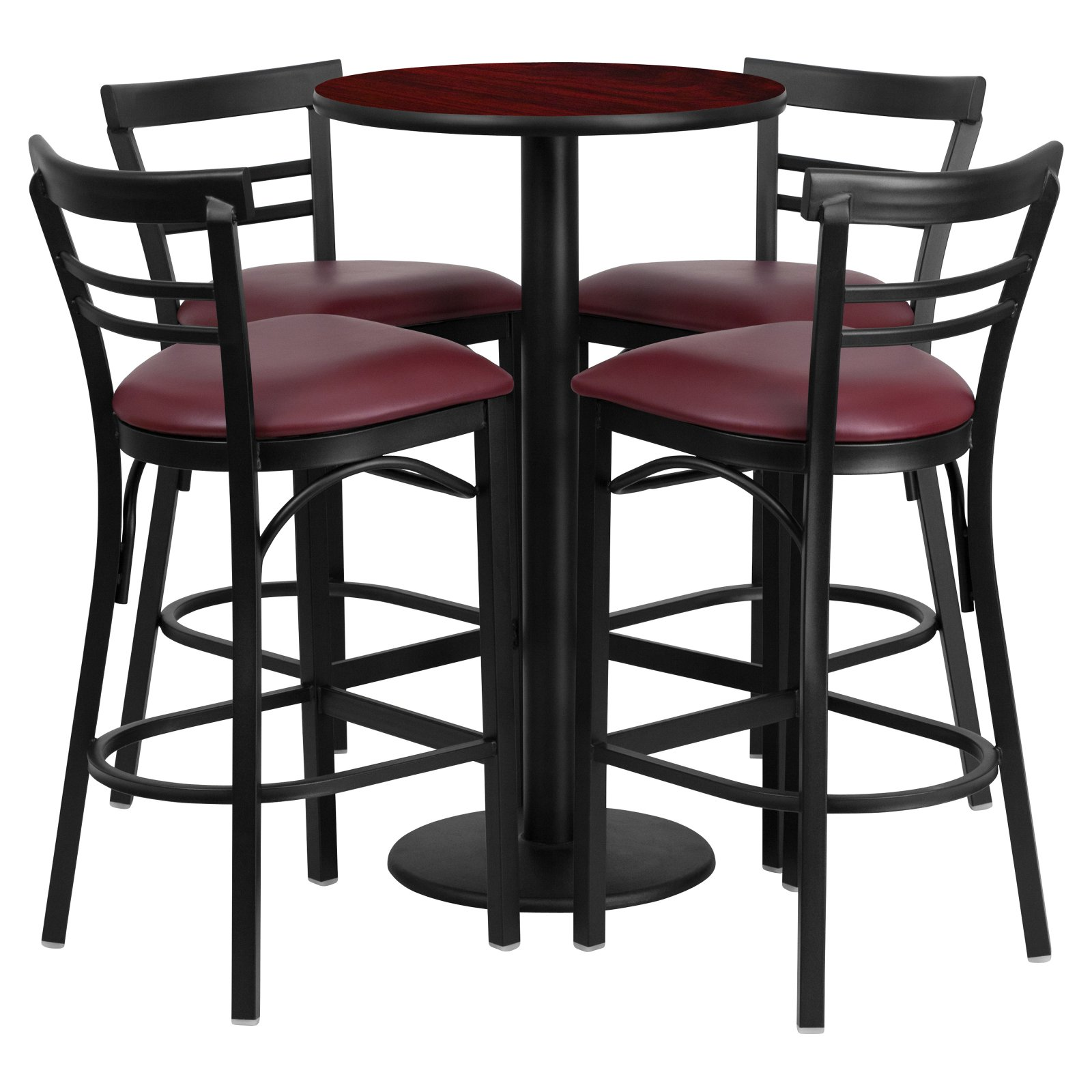 Flash Furniture 24'' Round Mahogany Laminate Table Set with 4 Ladder Back Metal Barstools, Burgundy Vinyl Seat
