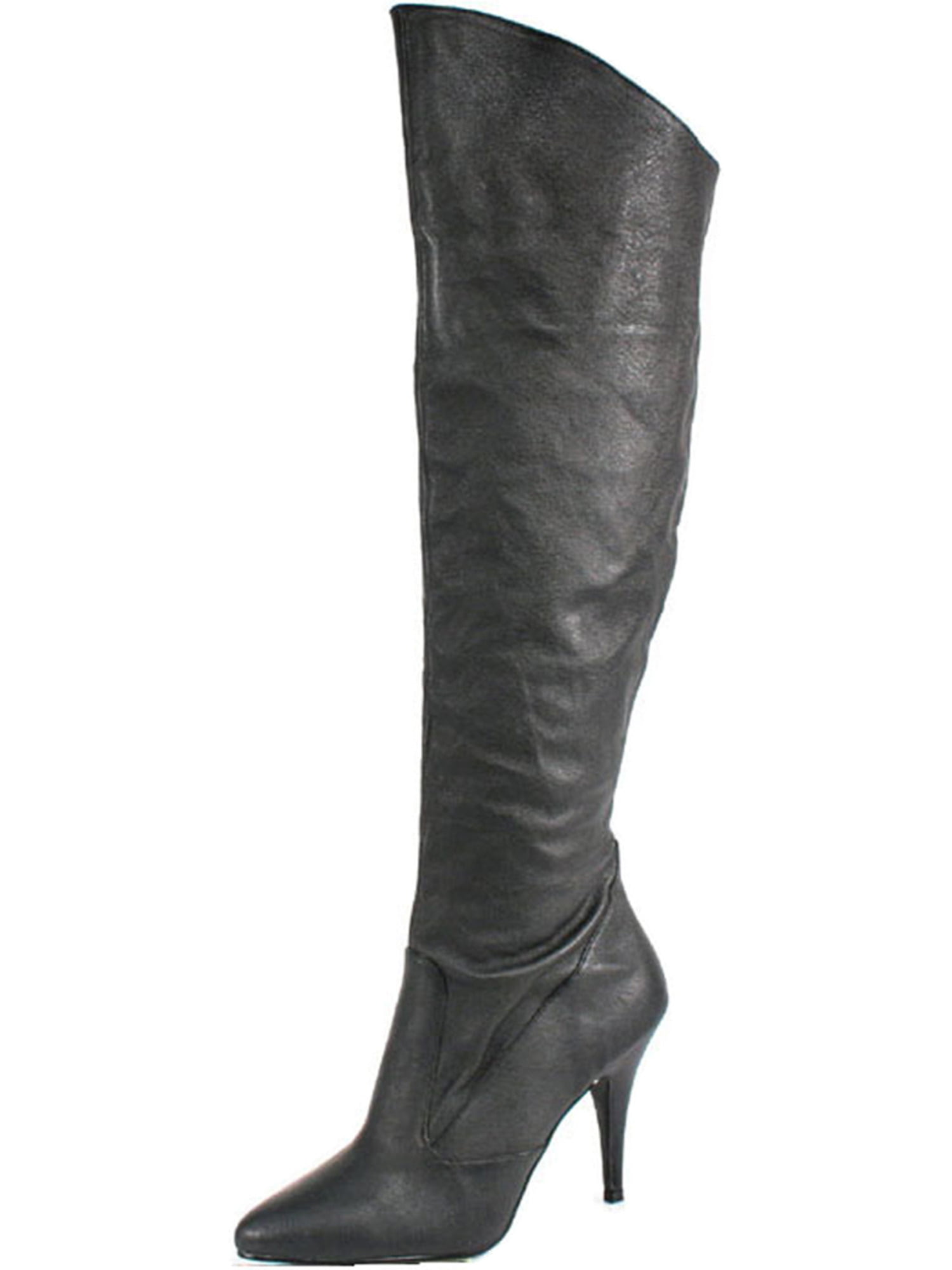 Womens Black Leather Boots 4 Inch Heels Sexy Knee High Boots Cuffed Knee Shoes
