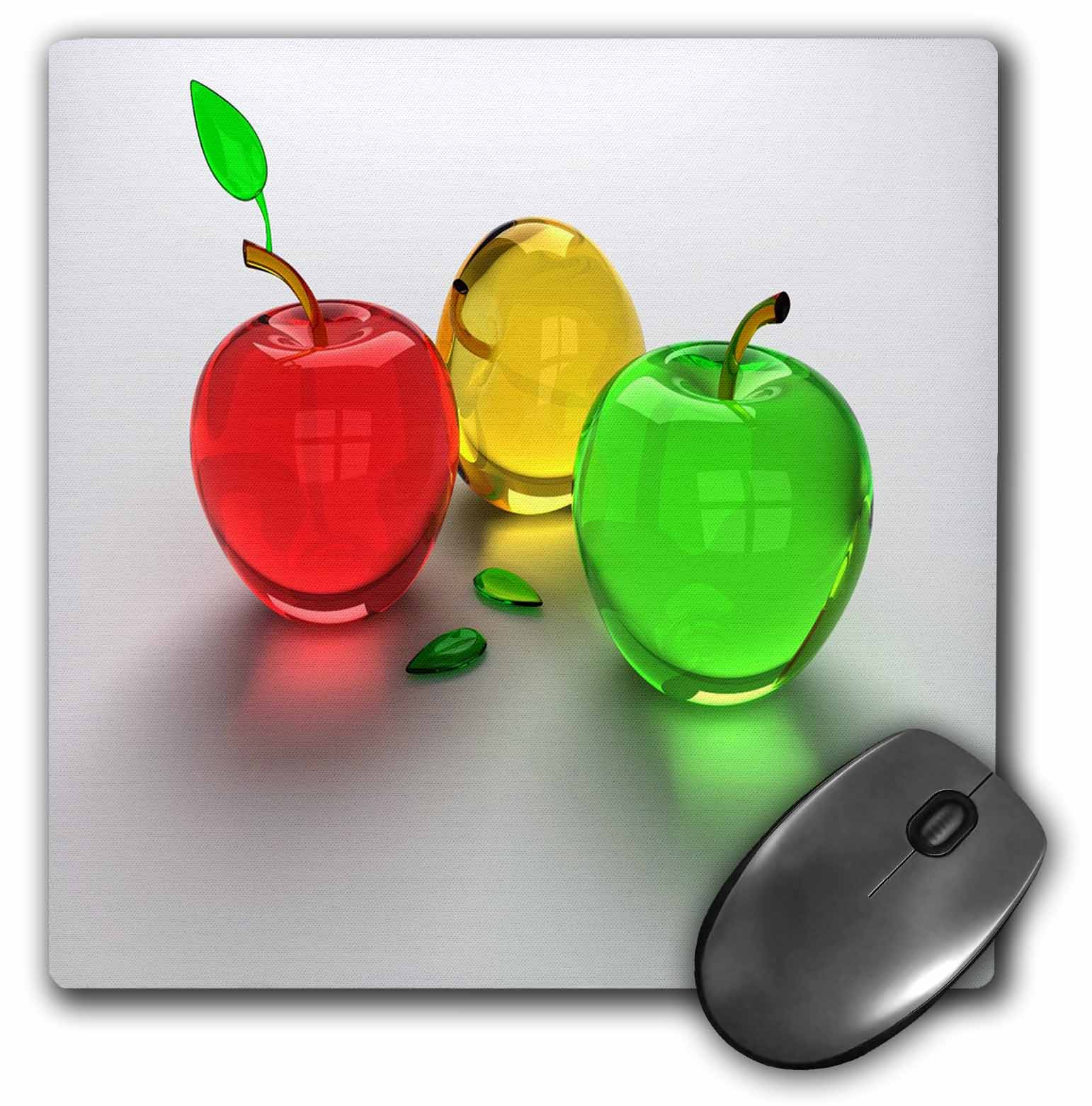 3dRose Glass Apples In Red Yellow n Green, Mouse Pad, 8 by 8 inches