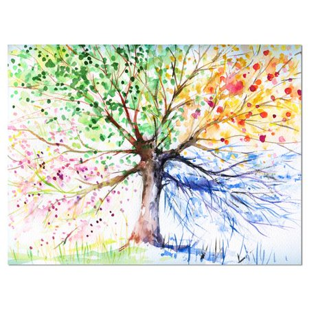 Design Art Four Seasons Tree Floral Painting Print on Wrapped Canvas