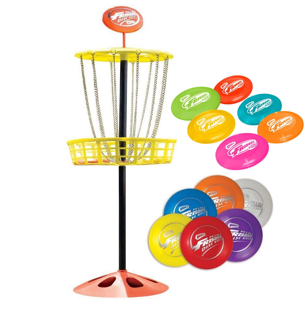Wham O Youth Indoor/Outdoor Portable Mini Frisbee Golf Toy Set Target & 12 Discs