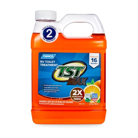 Camco TST MAX Strength Orange Scent RV Toilet Treatment, Formaldehyde Free, Breaks Down Waste And Tissue, Septic Tank Safe, Treats 40 Gallon Holding Tanks, 32.oz